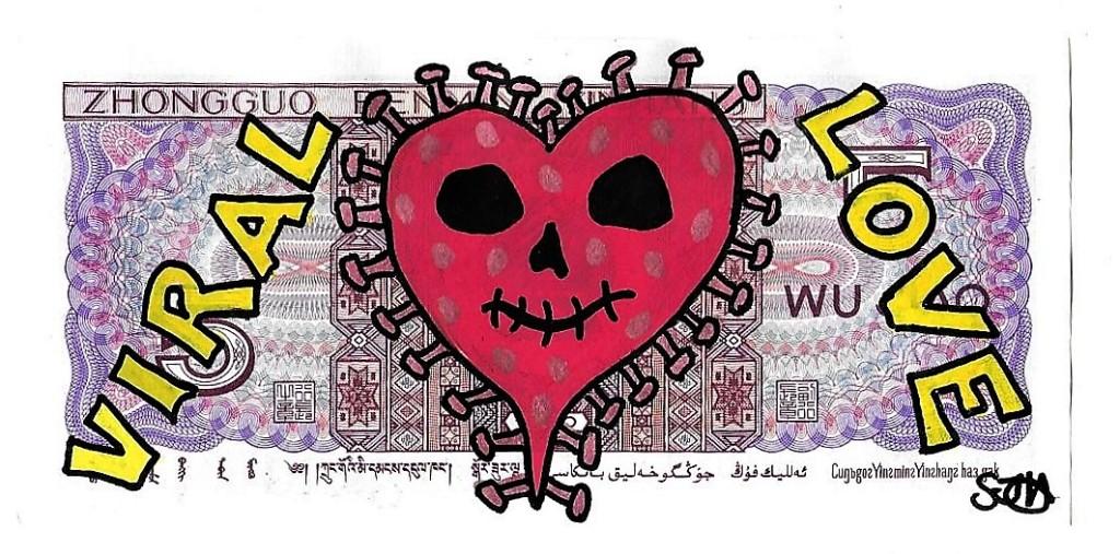 'Viral Love' money art by Harper Bizarre Art, 2020